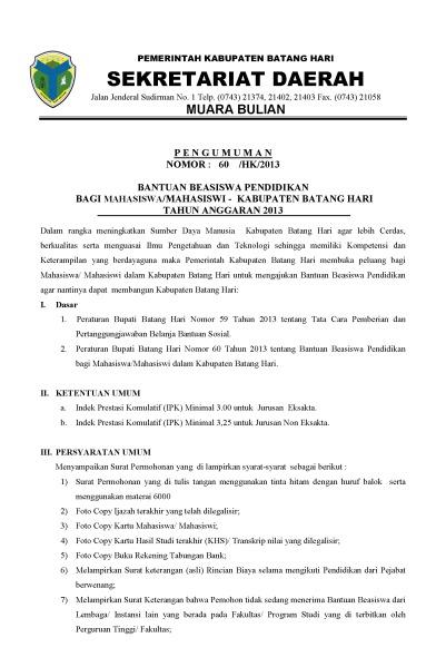 PENGUMUMAN BEASISWA S1, S2, S3 Kabupaten BATANG HARI_Page_1